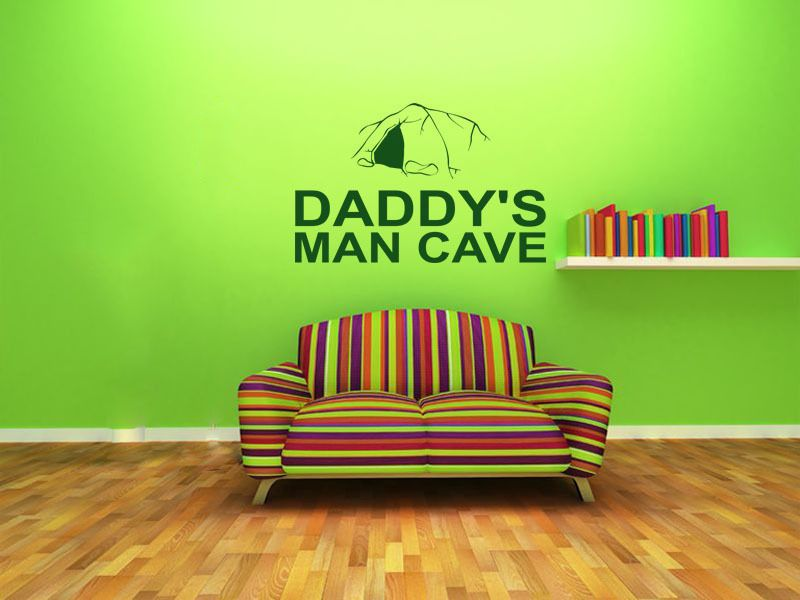 Man Cave Wall Art Uk : Wall quote daddy s man cave sticker modern decal